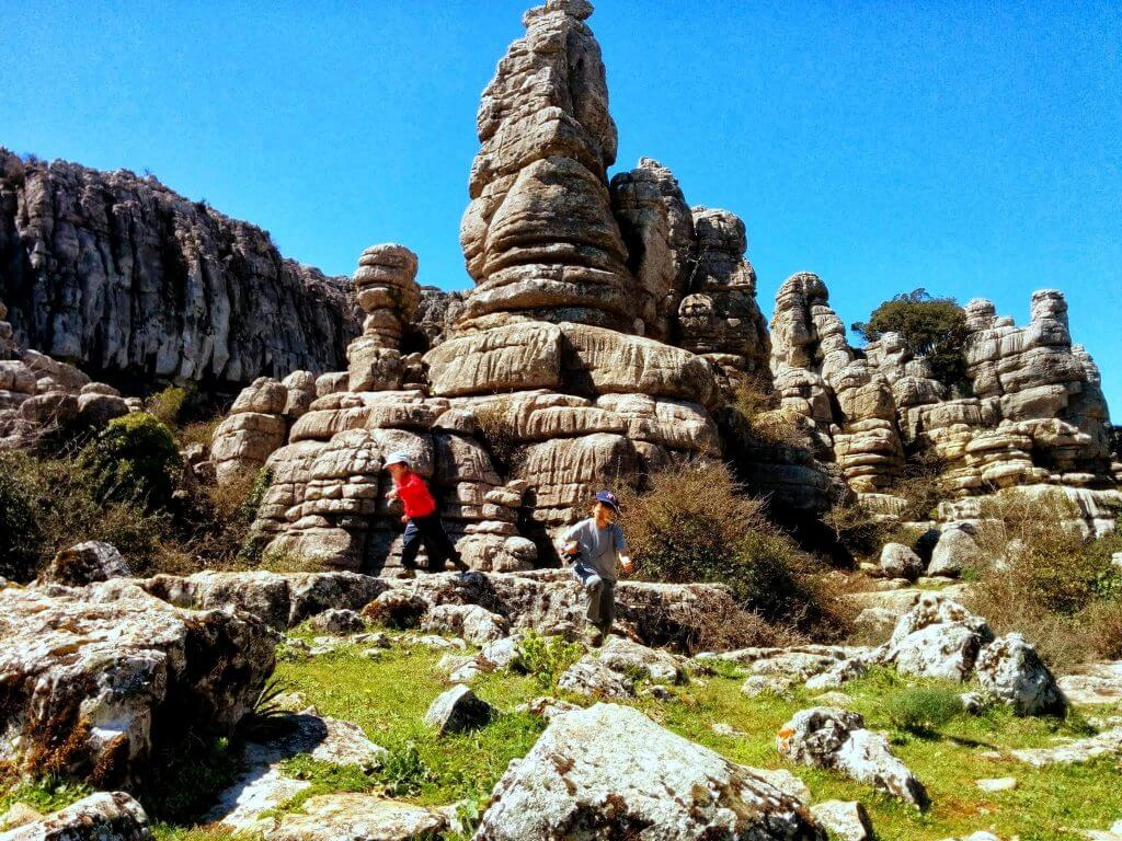 Children playing in El Torcal, Antequera