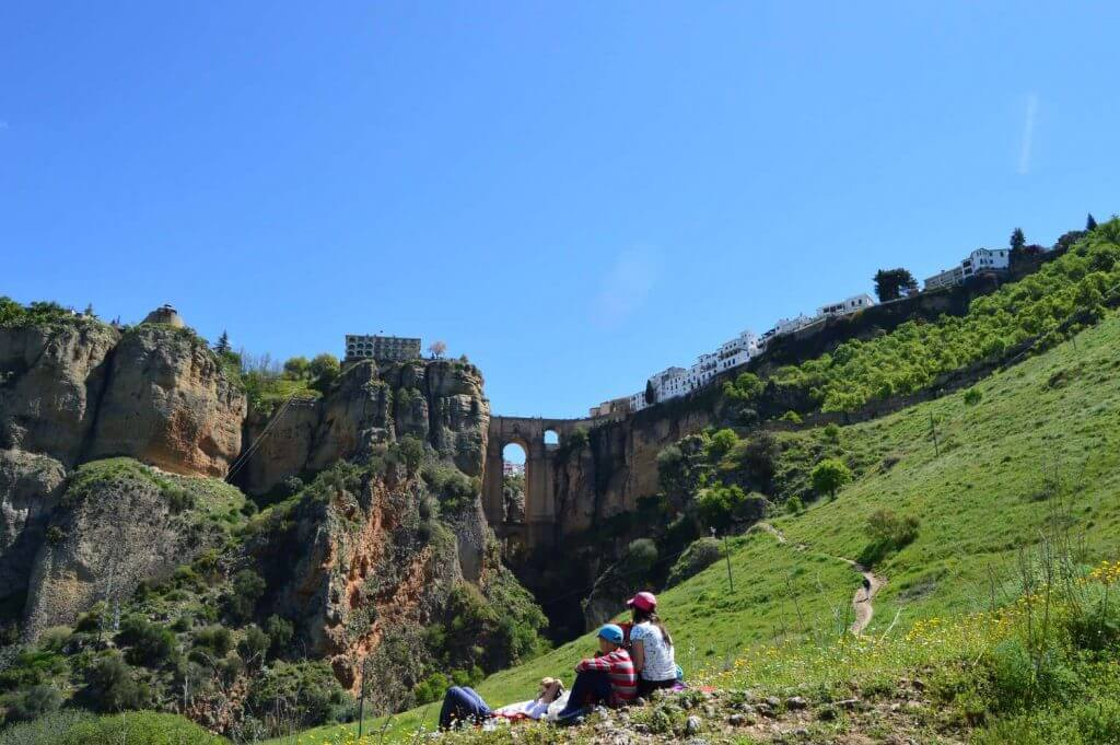 Picnic at the base of Ronda's gorge