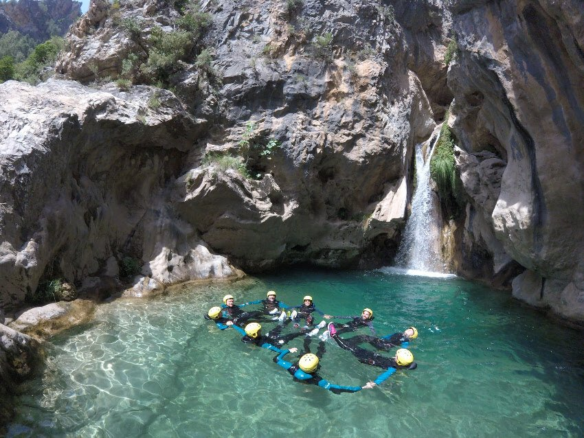 Malaga coworking group Rio Verde canyoning